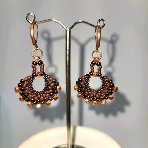Hand Made Boho Copper Fan Earrings